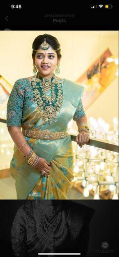 Sari Blouse Designs, Bridal Blouse Designs, Bridal Looks, Bridal Style, Bridal Jewellery, Gold Jewellery, Diamond Jewelry, Jewelery, Lehenga Saree Design