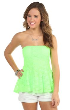 Deb Shops #neon green sweetheart neck high low lace tube top