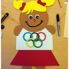 Pinner: This is my first olympic girl craft for my welcome-back-to-school bulletin board :) I'll post more pictures of how the bulletin board will look like :) First Grade Themes, First Grade Art, Special Olympics, Summer Olympics, Kindergarten Social Studies, Student Teaching, Summer Kids, Summer School, Olympic Idea