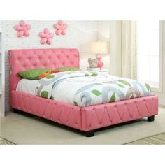 Juilliard Twin Bed with Pink Leathertte