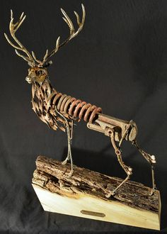 Deer sculpture red stag art scrap metal sculpture metal
