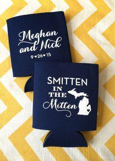 Smitten in the Mitten Wedding Koozies, Michigan wedding koozies, Michigan state outline koozies, great lakes wedding koozy by RookDesignCo on Etsy https://www.etsy.com/listing/216602964/smitten-in-the-mitten-wedding-koozies