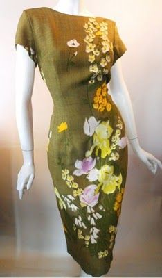 Olive linen-weave rayon dress with hand-painted floral motifs, 1960's.