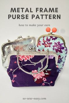 How to make our own square metal frame purse pattern in any size, use your own pattern and make a small purse with pockets inside for phone and a few cards. Purse Patterns Free, Coin Purse Pattern, Coin Purse Tutorial, Pouch Tutorial, Wallet Pattern, Tote Pattern, Skirt Patterns, Pattern Sewing, Diy Sac