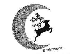 Crescent moon with deer silhouette - drawn with micron pen in mandala art patterns - this Cute Doodle Art, Doodle Art Designs, Doodle Art Drawing, Mandala Drawing, Anatomy Drawing, Abstract Pencil Drawings, Mandela Art, Art Painting Gallery, Mandala Art Lesson