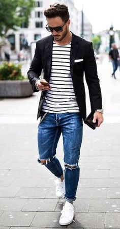 Is there a better combo than a striped tee, distressed jeans and a blazer?