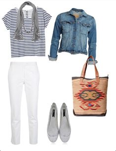 Vacation Outfit: stripes, white, denim & tribal.