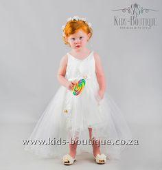 White V-Shaped Neckline Flowing Dress Flower Girls, Flower Girl Dresses, Flowing Dresses, Kids Boutique, Girls Dresses, Neckline, Wedding Dresses, Flowers, Style