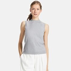 WOMEN SUPIMA COTTON SLEEVELESS SWEATER, GRAY, large