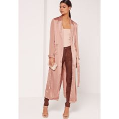 Missguided Satin and Chiffon Mixed Belted Duster Coat ($60) ❤ liked on Polyvore featuring outerwear, coats, bronze, chiffon coat, pink duster coat, belted coat, pink coat and leather-sleeve coats