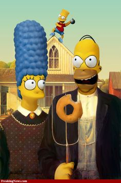 Page 1 of American Gothic Artist Grant Wood Year 1930 Type Oil on beaverboard Dimensions cm × cm in × in) Location Art Institute of Chicago American Gothic Painting, American Gothic House, Grant Wood American Gothic, American Gothic Parody, Rocky Horror, Homer And Marge, Homer Simpson, Gothic Pictures, Famous Portraits