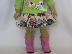 American Girl Doll Clothes - Wild Dots Flirty Skirt Outfit with Boots. $24.00, via Etsy.