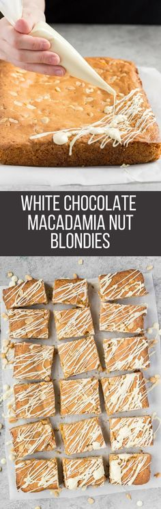 These White Chocolate Macadamia Nut Blondies are soft, chewy, buttery, and loaded with white chocolate chips and macadamia nuts.