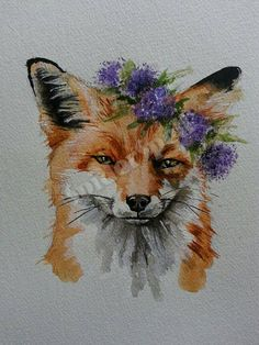 Cheeky Fox wearing a crown of purple flowers. by SpiderSpellArts