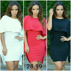 Cape Dress This Cape dress comes in black, white, and red with a cape slit back design Dresses Midi