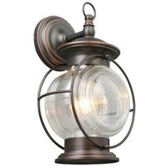 Woohoo...the hubby bought these beauties for outside the master bedroom....<3   Portfolio�Caliburn 13-5/8-in Oil-Rubbed Bronze Outdoor Wall Light