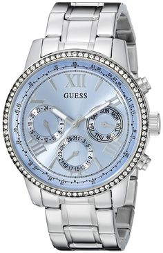 GUESS Women's U0559L4 Classic Sporty Stainless Steel Watch with Blue Dial >>> Check out this great watch.