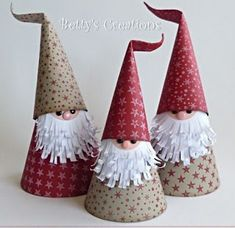 Who doesn't love adorable gnomes and easy kids crafts? These super cute Christmas gnomes (or Santas )can be perfect Christmas crafts for the kids because they are super easy to make, and doesn't need any special crafting . Christmas Paper Crafts, Christmas Gnome, Christmas Projects, Kids Christmas, Handmade Christmas, Holiday Crafts, Christmas Cards, Christmas Ornaments, Origami Christmas