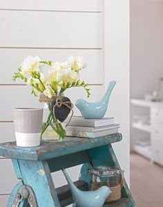 Who knew ladders could become a gorgeous interior feature? Using an old wooden ladder, sand down, paint with your favourite colour (matt emulsion works best!) and sand in random areas to really give it that distressed look! Finish off by decorating with cute accessories and there you have a stunning and unique feature in your home
