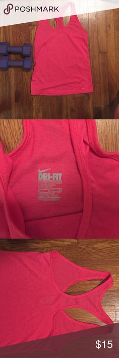Nike dri fit tank top pink Nike dri fit workout top. never worn. Nike Tops Tank Tops