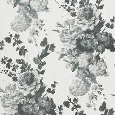 Le papier peint Seraphina de Designers Guild : Un élégant papier peint avec une composition très naturelle de bouquets dans des tons vifs sur un fond …