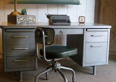 Steelcase: Industrial Tanker Desk, at off! Office Furniture, Office Decor, Furniture Design, Metal Desk Makeover, Cool Desk Chairs, Tanker Desk, Retro Office, Metal Desks, Office Interiors