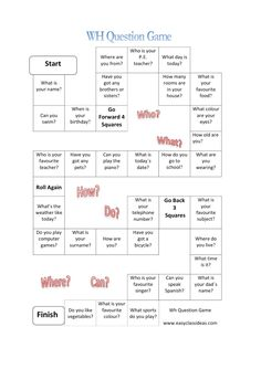 WH Question Game with 32 English questions to answer. Wh Questions, Personal Questions, This Or That Questions, Dating Questions, English Lessons, Learn English, English Class, Speaking Games, Printable Board Games