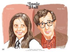 Poster design by Cheeky Design of Woody Allen's 1977 classic Annie Hall, starring Diane Keaton. Annie Hall, Movie Club, Diane Keaton, Woody Allen, Print Packaging, Cool Pictures, Comedy, Films, Lettering