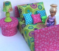 Bed for MINI American Girl Julie Our Generation LORI Blythe Kelly Disney #Unbranded