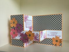 Double Z fold card with Flower Shop stamped and punched flowers - created by Julia Jordan