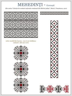 Semne Cusute: ie din Gornesti, Mehedinti, OLTENIA Embroidery Stitches Tutorial, Embroidery Motifs, Cross Stitch Embroidery, Knitting Charts, Knitting Patterns, Cross Stitch Designs, Cross Stitch Patterns, Palestinian Embroidery, Folk Fashion