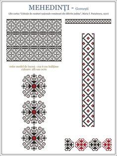 Semne Cusute: ie din Gornesti, Mehedinti, OLTENIA Embroidery Stitches Tutorial, Embroidery Motifs, Cross Stitch Embroidery, Modern Cross Stitch Patterns, Cross Stitch Designs, Knitting Charts, Knitting Patterns, Palestinian Embroidery, Cross Stitching