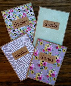 These sweet and simple handmade thank you cards are made on kraft paper topped with vibrant patterned paper. The thanks wording is stamped on a