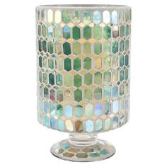 Mosaic glass hurricane.   Product: Footed hurricaneConstruction Material: GlassColor: Green