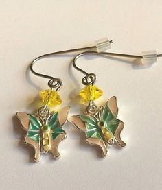 Silver Butterfly Earrings Spring Colors Pastel Yellow Green Peach Plated Easter #Unbranded #DropDangle