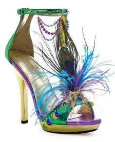 Mardigras Gold Green & Purple Open Toe High Heel Pump Mardi Gras Costume Shoes