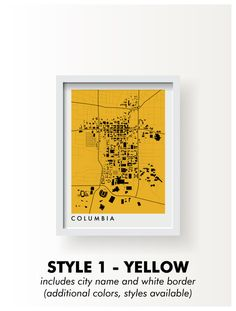 COLUMBIA MISSOURI Map Print - graphic drawing art poster University of Mizzou Tigers