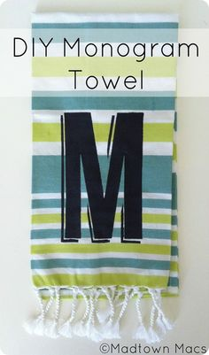 DIY monogram towel made with paint {West Elm Inspired}