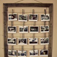 I saw a similar photo set-up to this one at a wedding recently. I love the rustic/backyard look to it, and think it's a cute way to showcase an album.