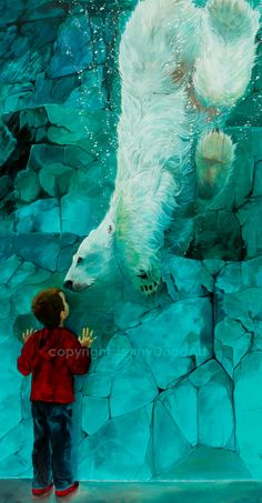 Face to Face little boy watching a  polar bear by JennyDoodArt, $3500.00 found on Etsy