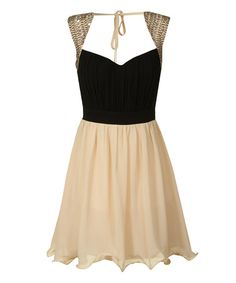 Take a look at this Black & Cream Embellished Fit & Flare Dress on zulily today!