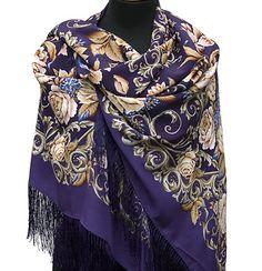Спецпредложения : Королевский бал 1470-13, павлопосадский платок (шаль, крепдешин) шелковый с шелковой бахромой