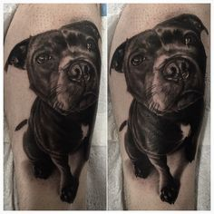 Today's dog portrait on Jon. His first tattoo! Thanks for traveling down mate! It was a pleasure to do this for you! @custompropagandatattoo