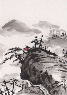 Lin Lis Chinese Art: Original ACEO Chinese Sumi-e Painting Landscape Art
