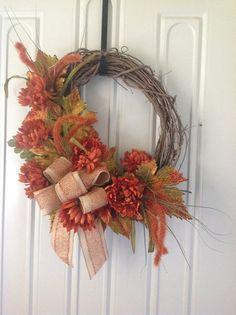 Fall grapevine burlap  wreath   by TammysFlowersandmore on Etsy, $50.00