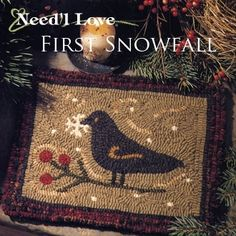 First Snowfall Rug Hooking Pattern on Monk's Cloth by Need'L Love | eBay