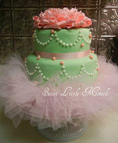A ROUGH idea...not fondant icing, just icing dots? We could do a poof ball of tulle on the top?!