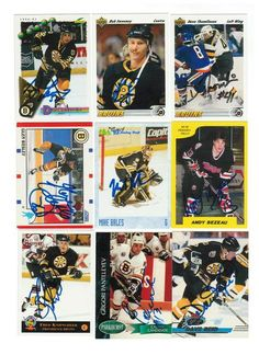 Boston Bruins Lot of 9 Autographed Cards. You will receive all cards in the picture. This Lot includes: Glen Wesley, Grigori Panteleyev, Andy Bezeau, Fred Knipscheer, Mike Bales, Bob Sweeney, Don Sweeney, Dave Reid & Dave Thomlinson.