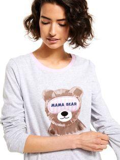 Mama Bear Long Sleeve Top Grey Marle - Peter Alexander Online Pajama Top, Sleep Shirt, Pajamas Women, Body Measurements, Tshirts Online, Long Sleeve Tops, Nice Dresses, Topshop, Bear