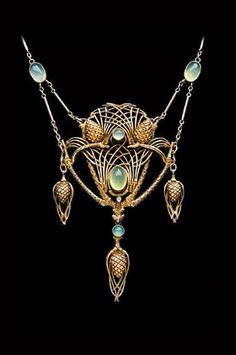 JEAN-ETIENNE DIMANCHE | 'Fir Cone Necklace' Gilded silver Chalcedony. French, c.1910.